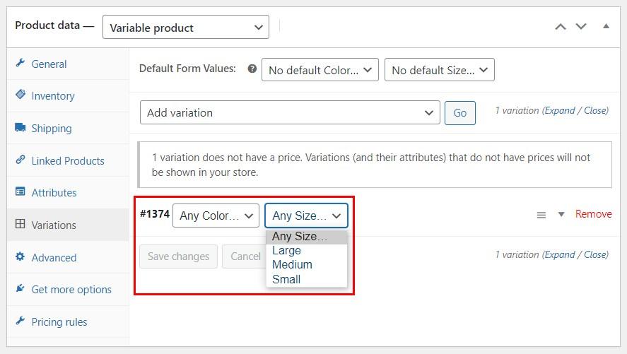 Set WooCommerce product variation