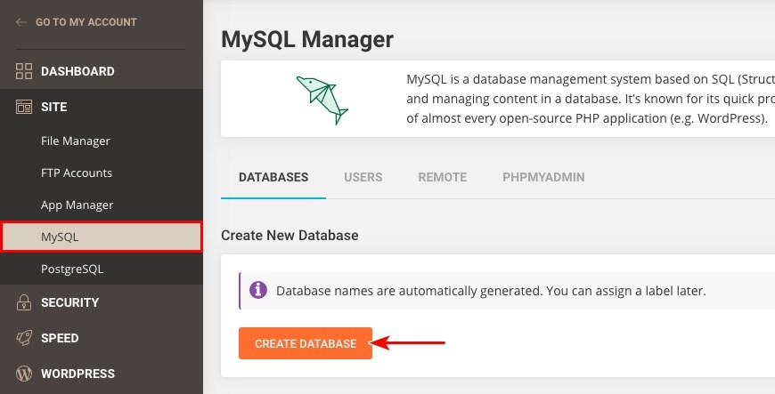 SiteGround MySQL database