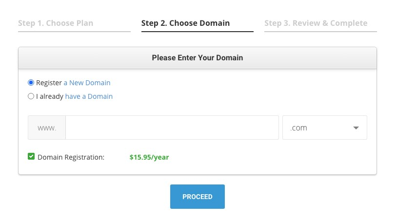 SiteGround choose or register domain