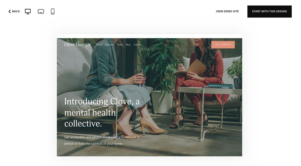 Squarespace template view