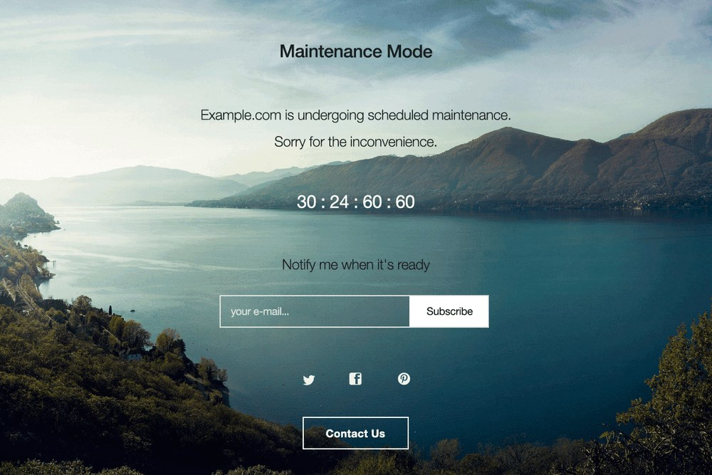 WP maintenance mode plugin front results