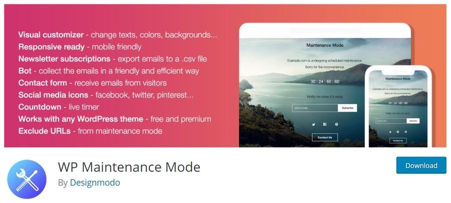 WP maintenance mode plugin