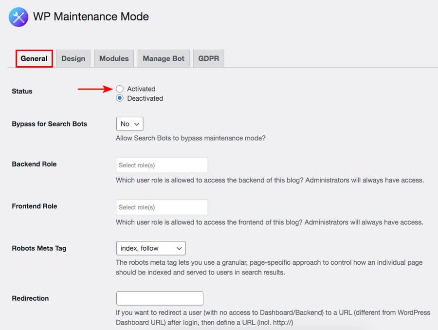 WP maintenance mode settings
