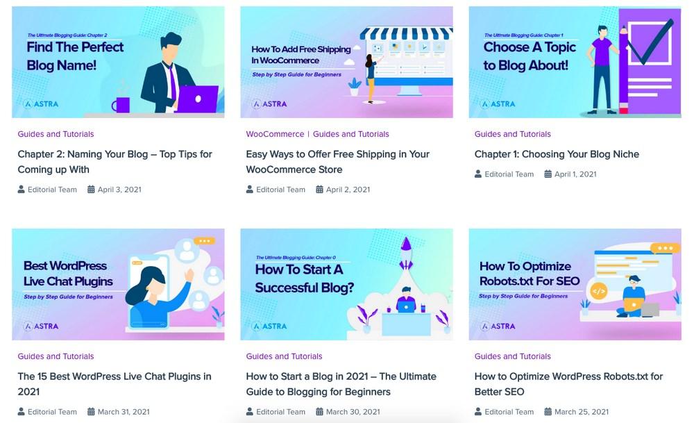 WPAstra blog layout