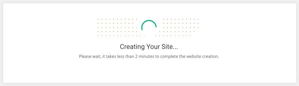 Website setup process on SiteGround