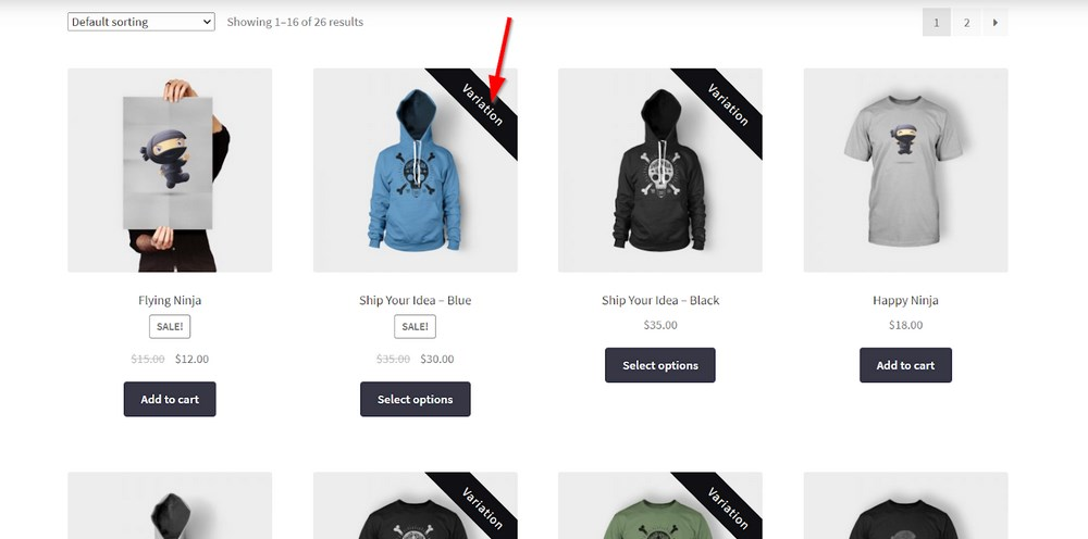 WooCommerce Show Single Variations plugin results