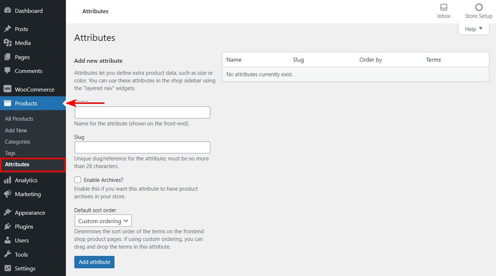WooCommerce product attributes