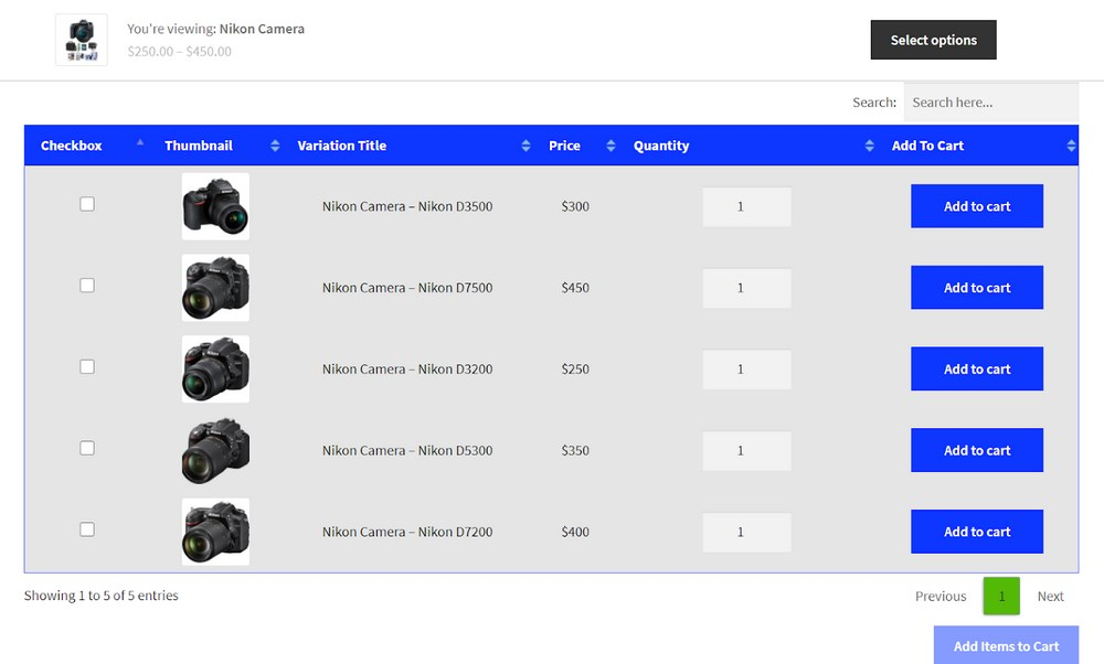 WooCommerce product variation result