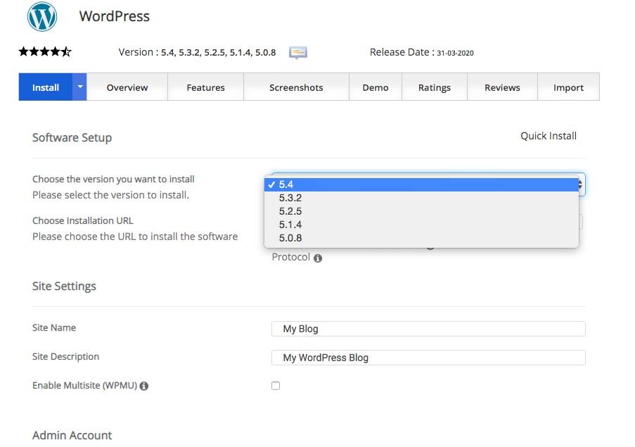 WordPress install setting 1