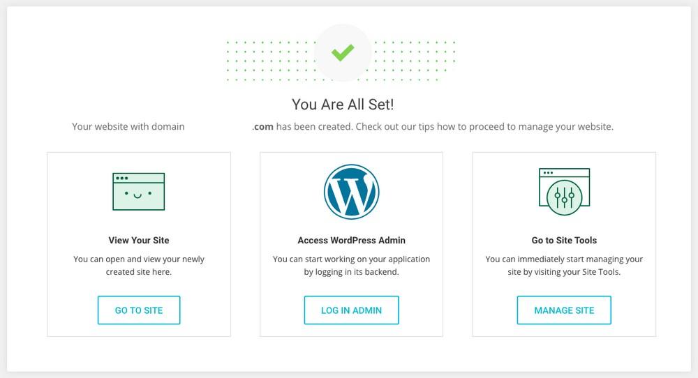 WordPress installation complete on SiteGround