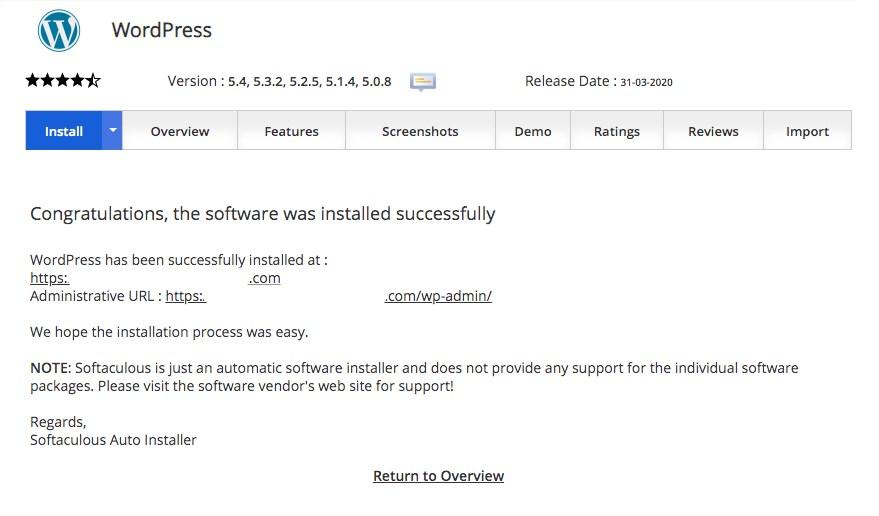 WordPress installation complete using cPanel