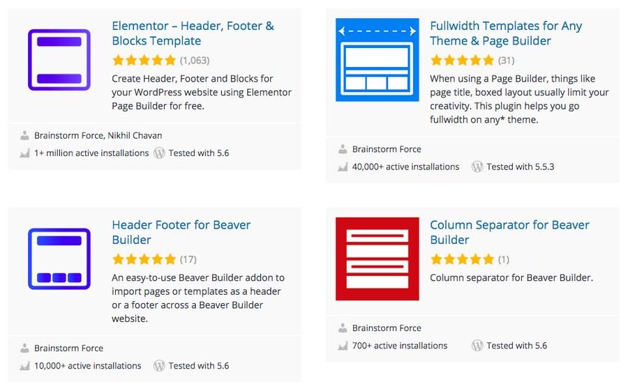 WordPress plugins by Brainstorm Force