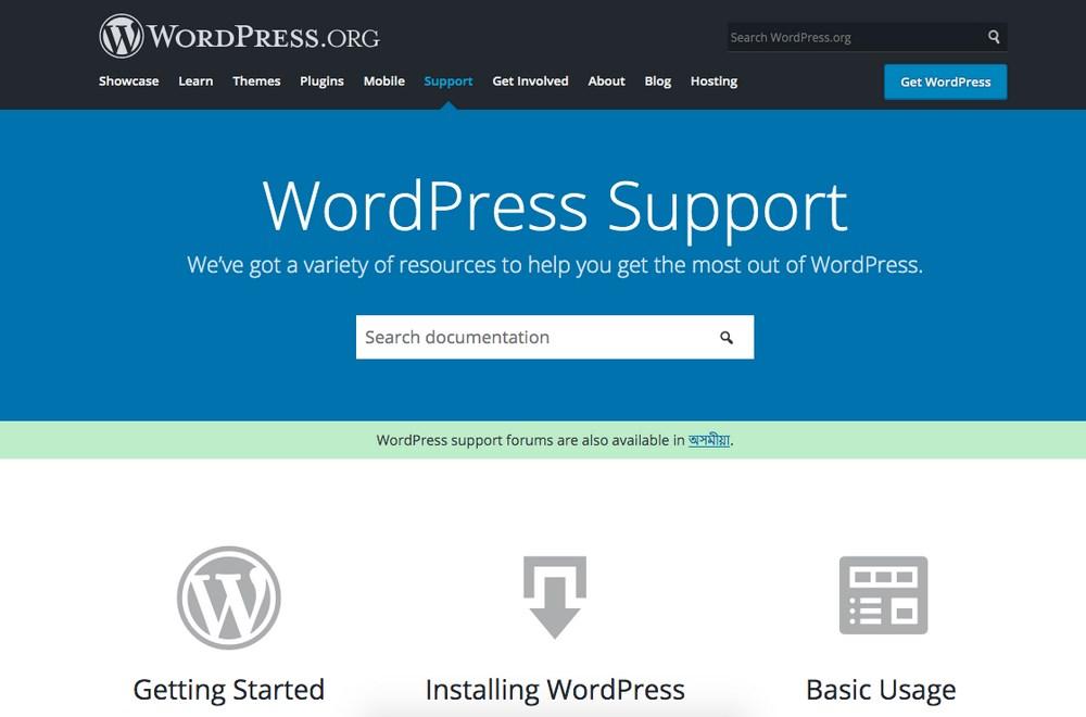 WordPress support documentation