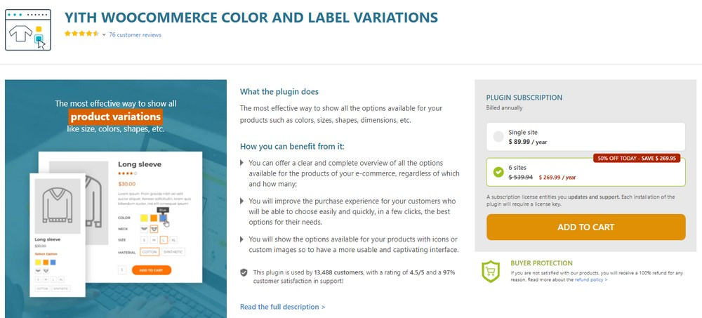 YITH WooCommerce color and label variations plugin