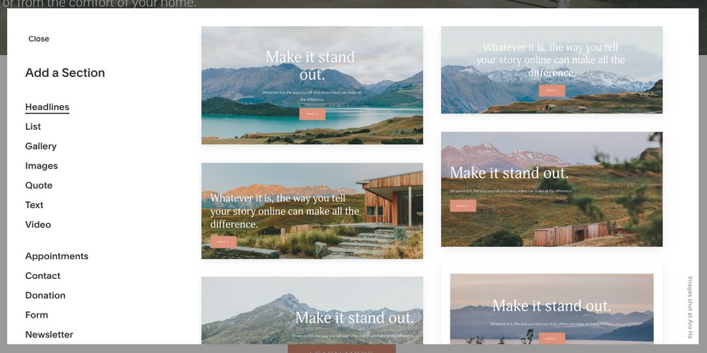 add a section in Squarespace