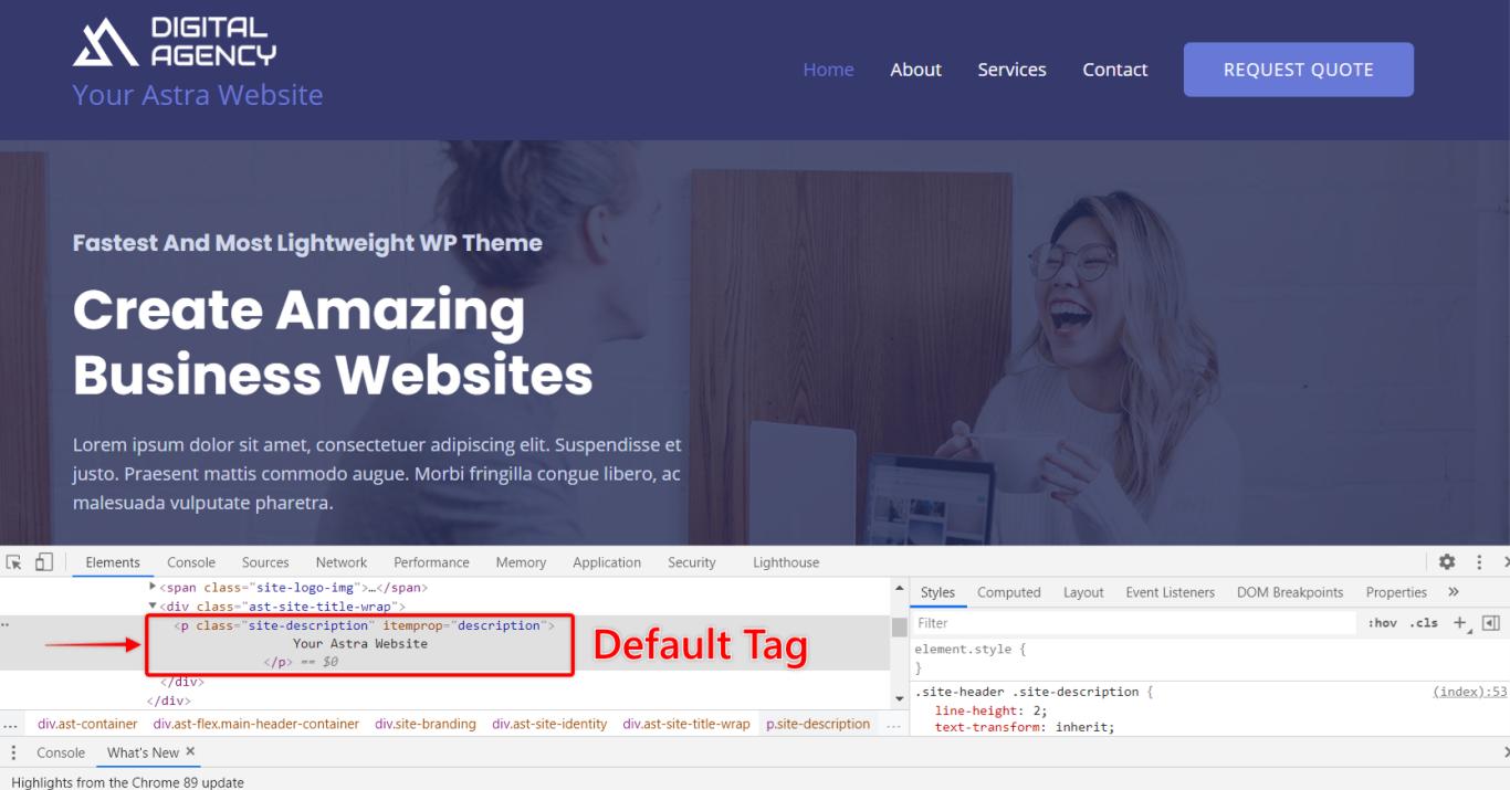 Tagline Default Tag, Astra 3.0+