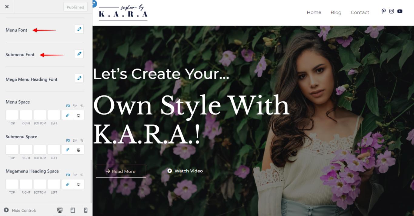 Astra Pro - Primary Menu Typography, Astra 3.0+