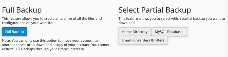 cPanel WordPress backup settings 2