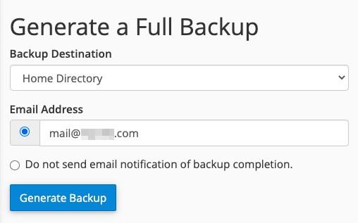 cPanel WordPress backup settings 3
