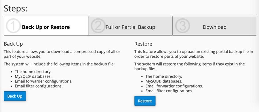 cPanel WordPress backup settings