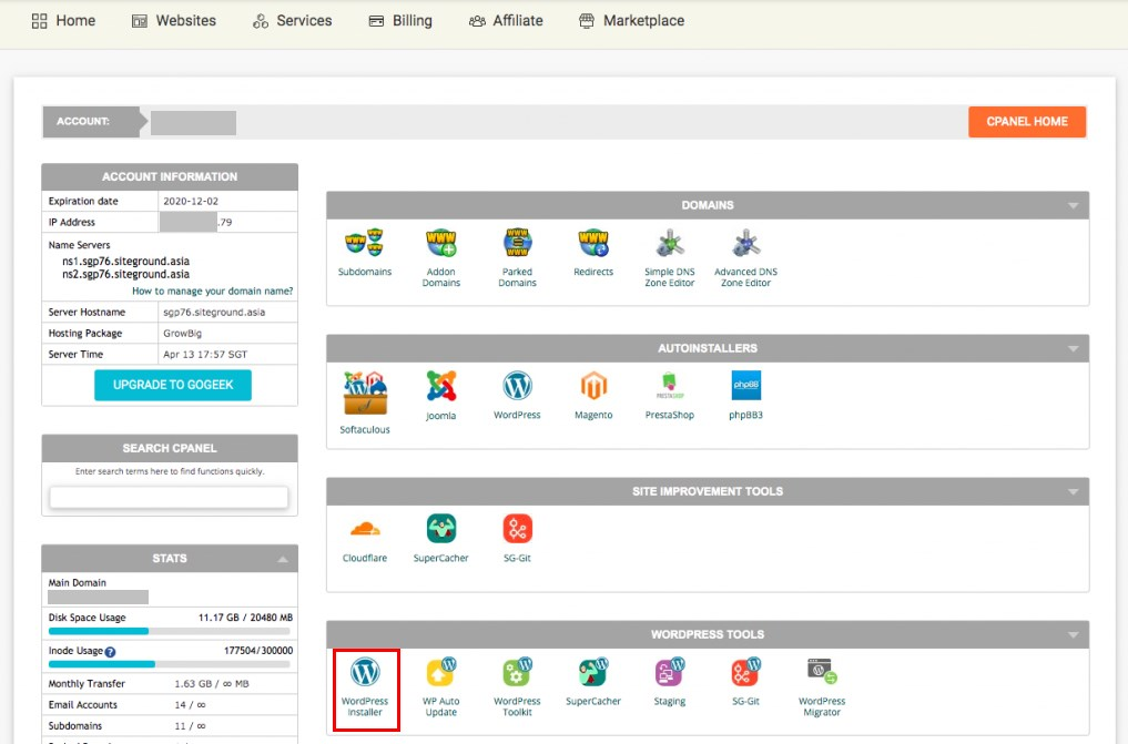 cPanel WordPress install