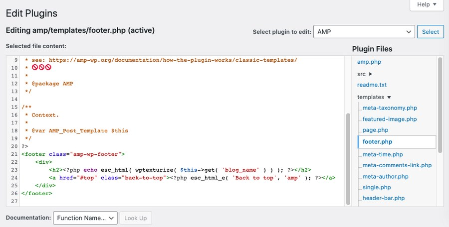 edit plugin footer php