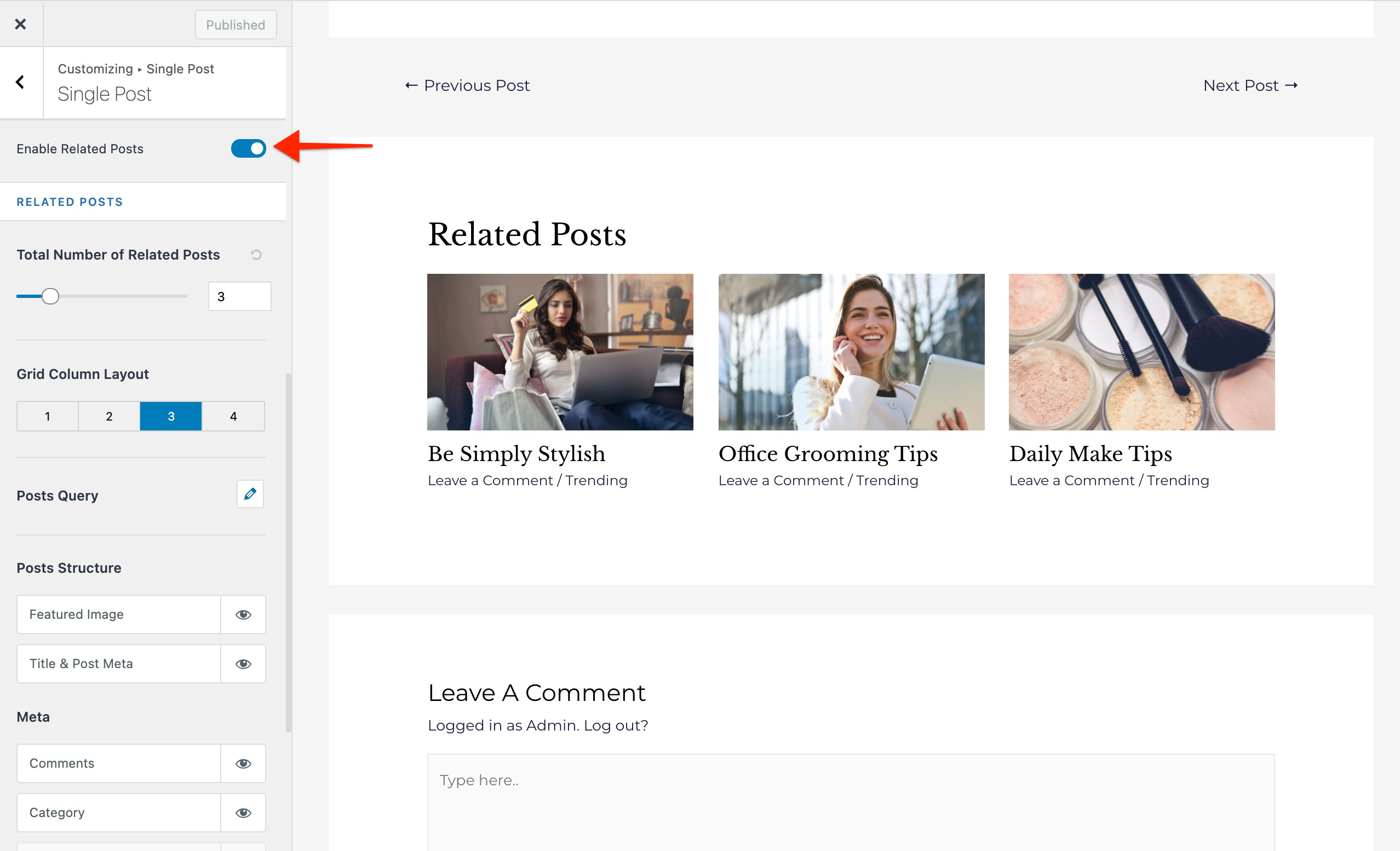 Related Posts - enable feature