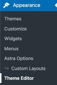 go to theme editor