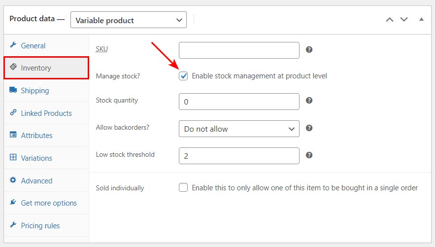 preview inventory manage stock
