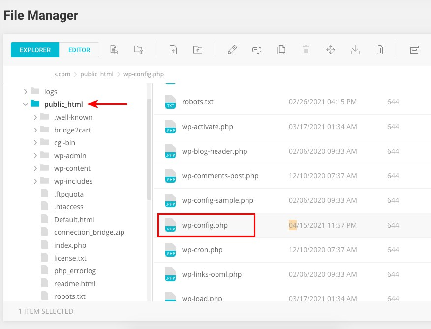 Access wp config file using file manager