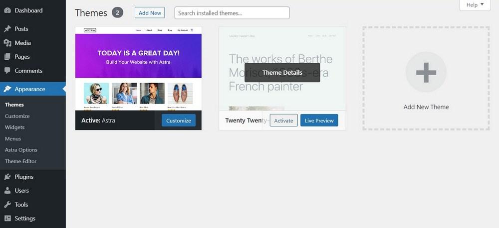 Activate different WordPress theme