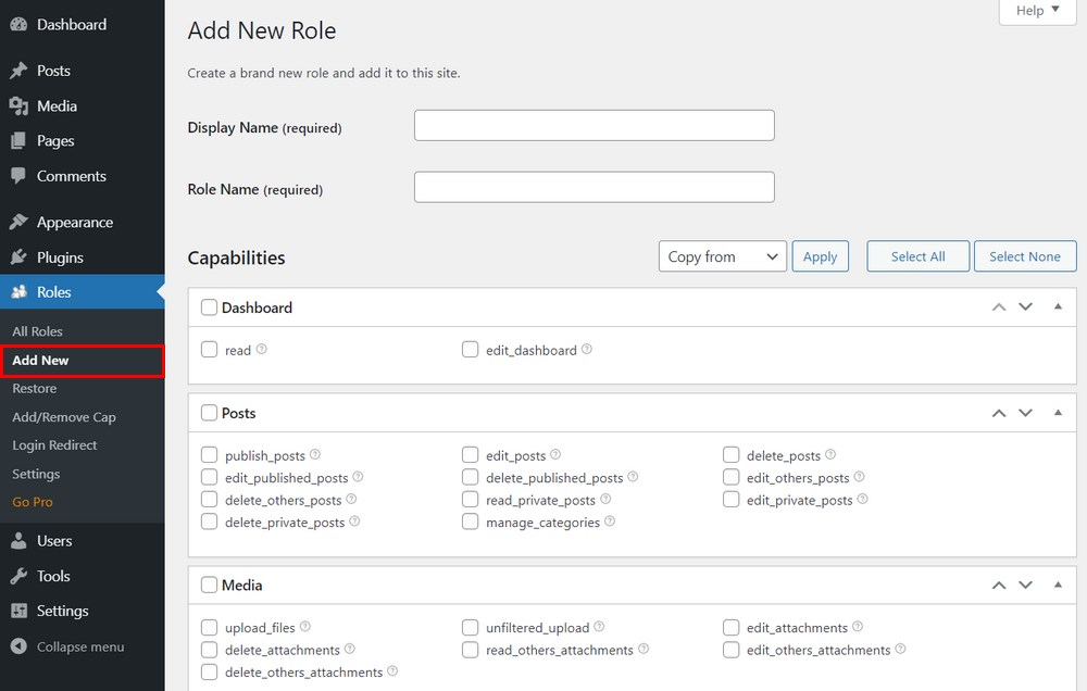 Add new user role in WordPress
