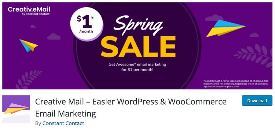 Creative mail WordPress plugin