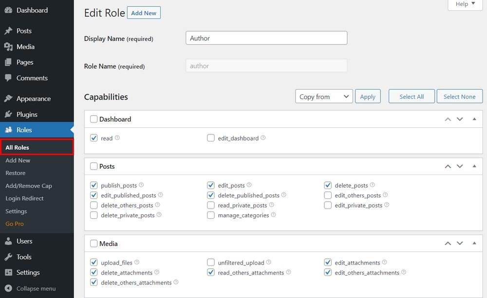 Edit user roles in WordPress
