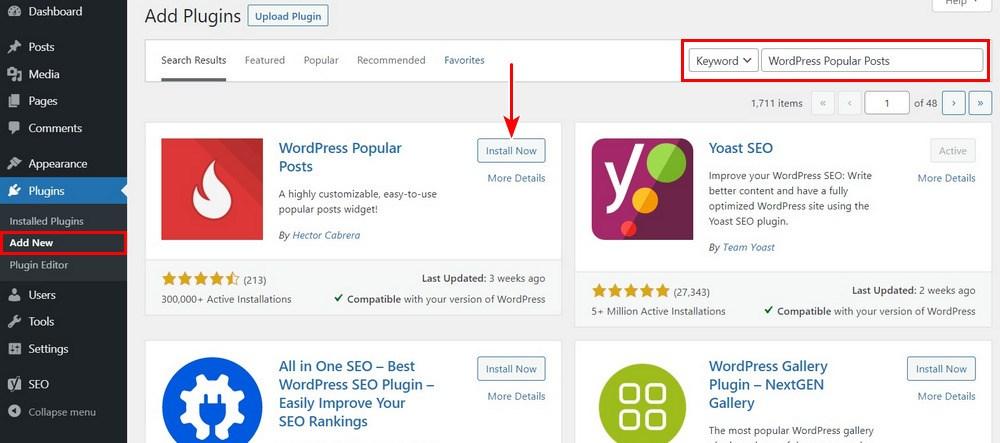 Install WordPress popular posts plugin