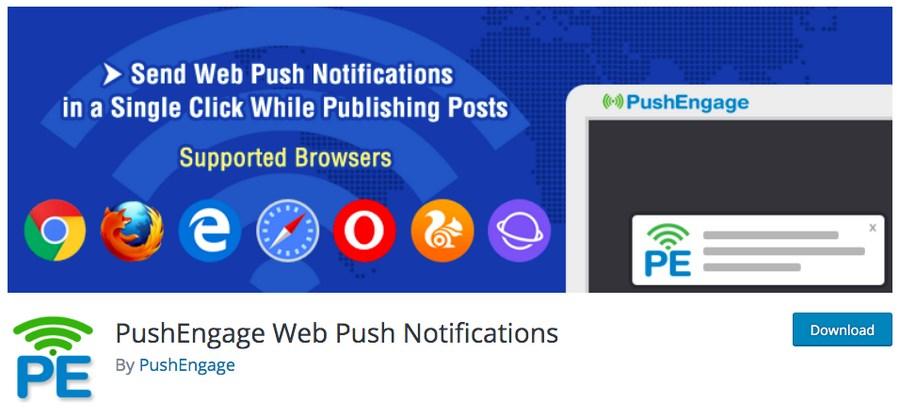 PushEngage Web push notifications WordPress plugin