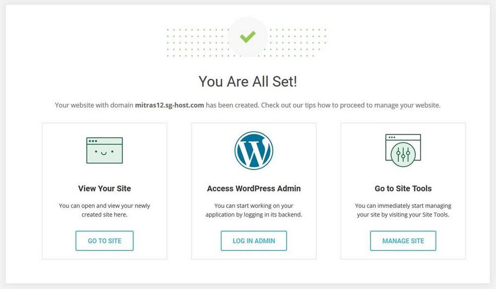 SiteGround WordPress installation complete message