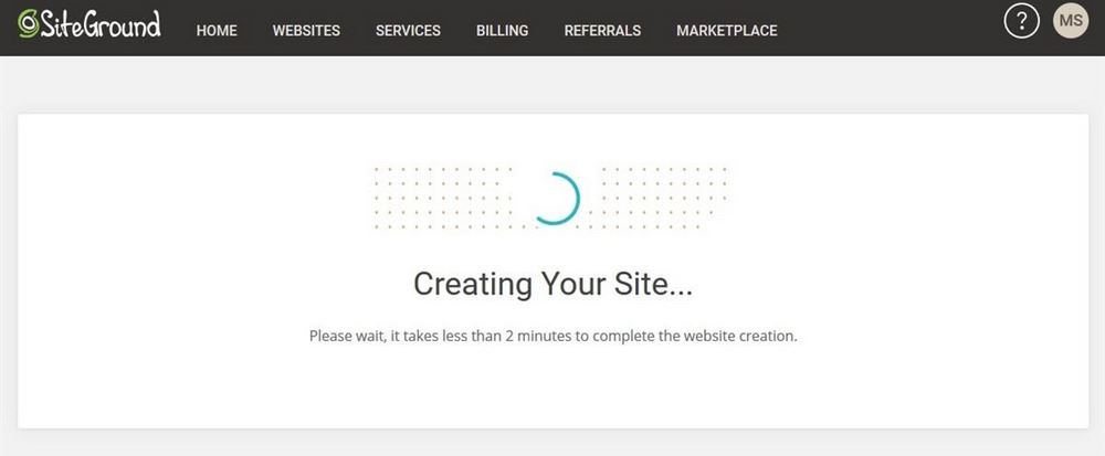SiteGround creating site message