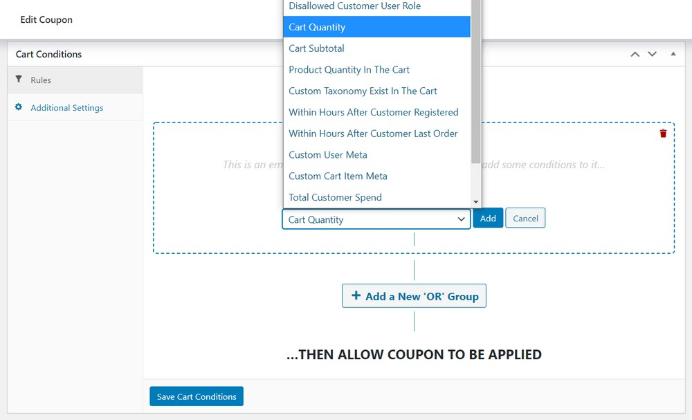 WooCommerce cart conditions