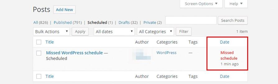 WordPress missed schedule post error