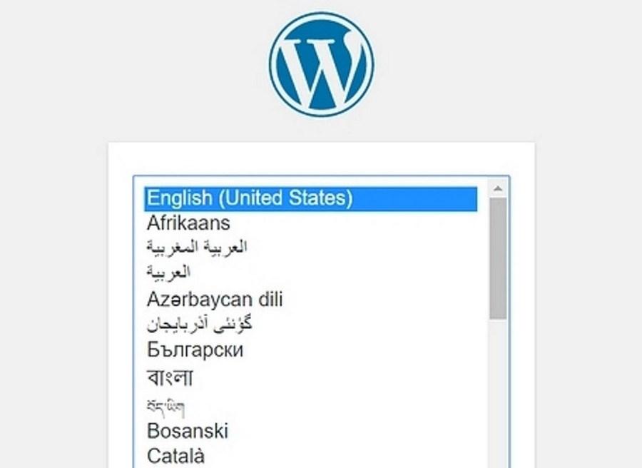 WordPress setup window
