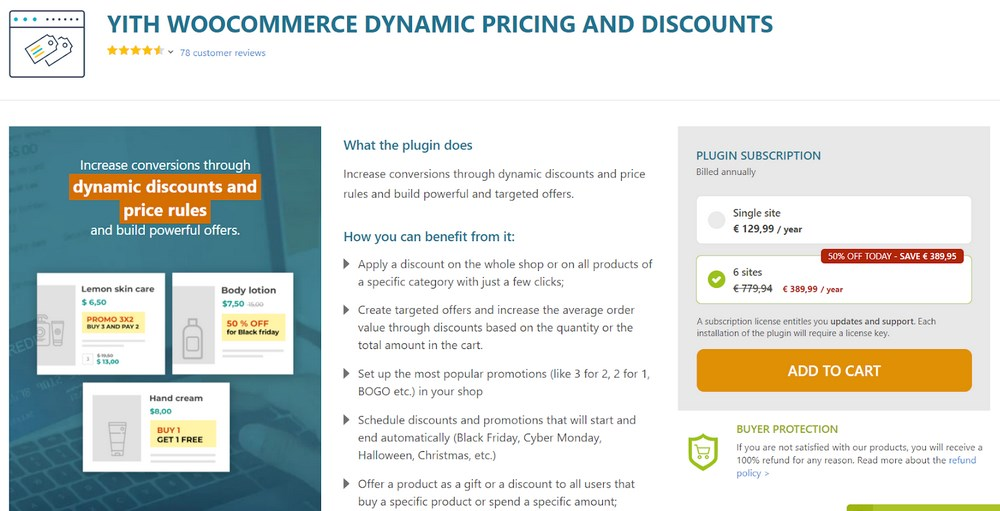 YITH WooCommerce dynamic pricing and discounts plugin