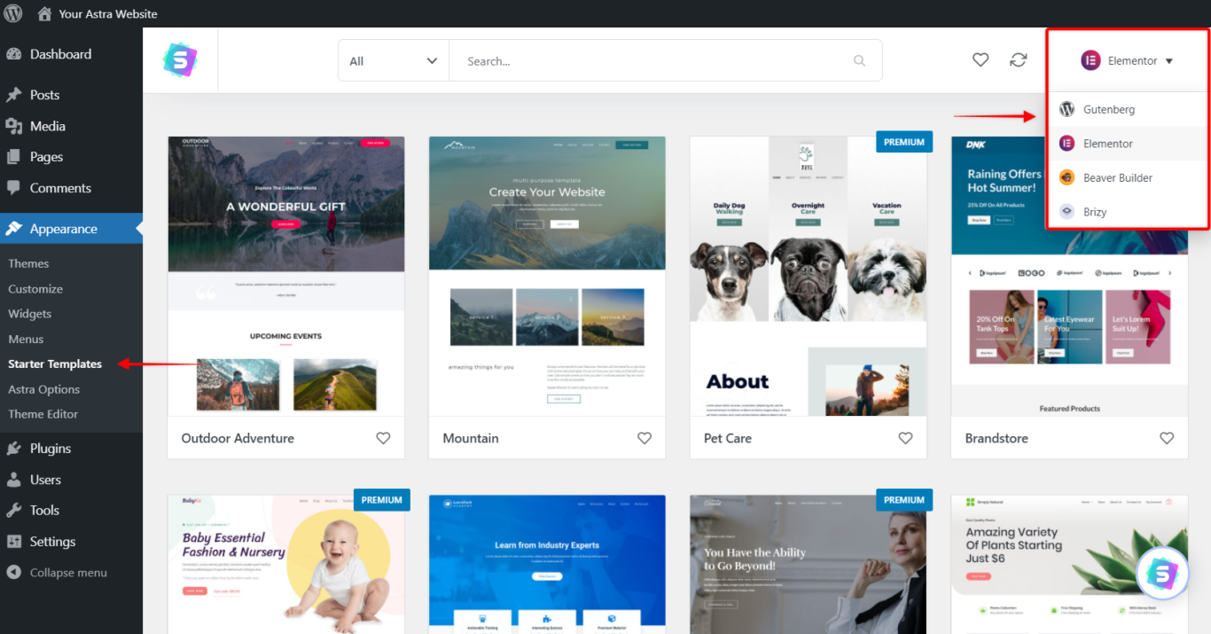 Starter Templates - Page Builder Filter