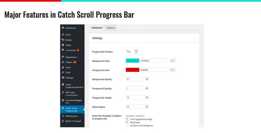 catch scroll progress bar plugin