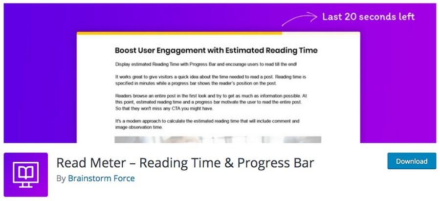 read meter plugin for WordPress
