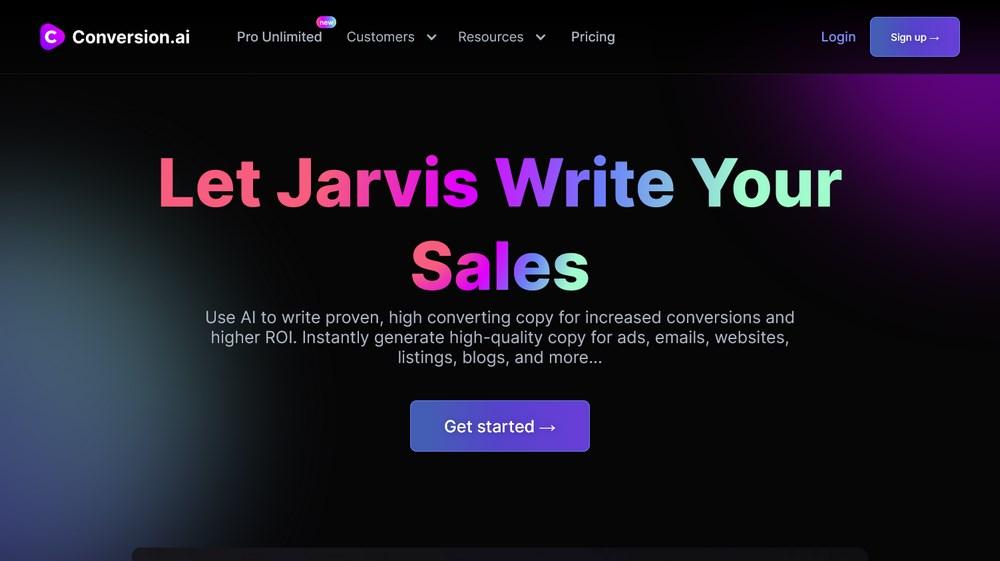 Conversion ai homepage