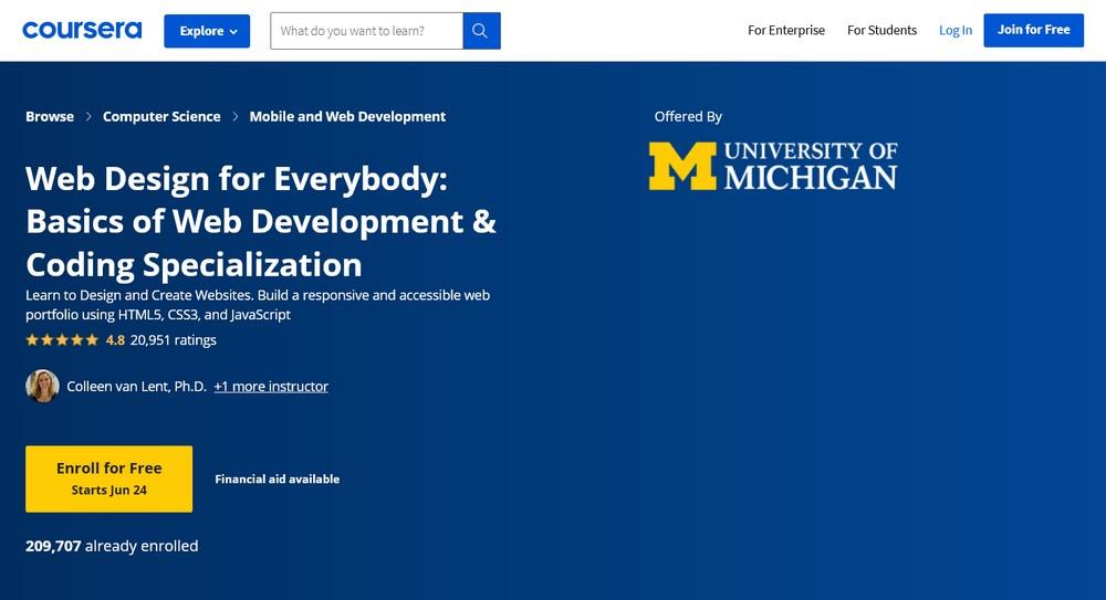 Coursera Web design courses