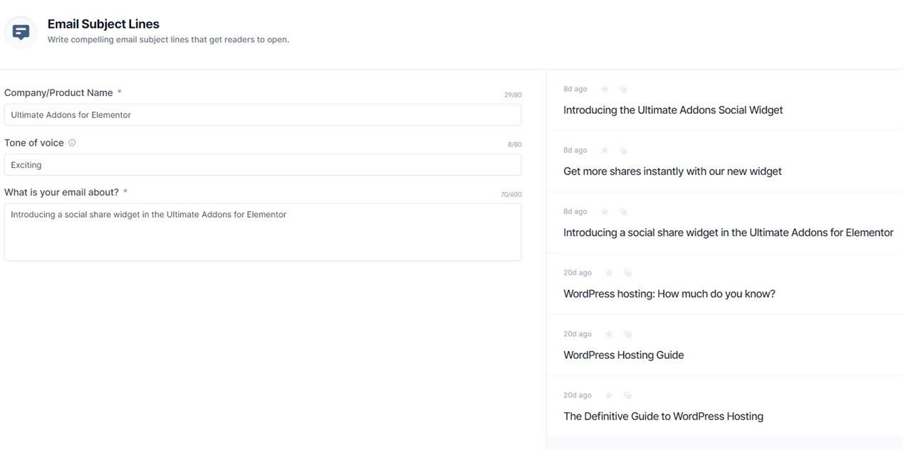 Email Subject Lines template example
