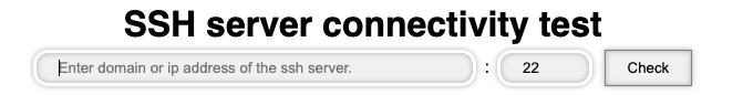 SSH server connectivity test