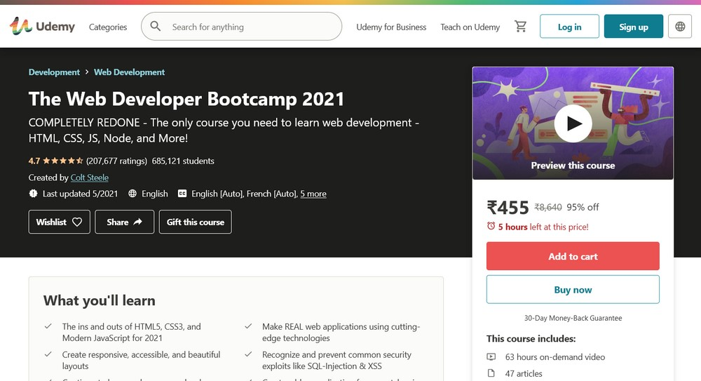 The Web Developer Bootcamp udemy course